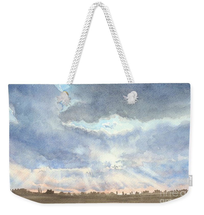 Landscape Weekender Tote Bag featuring the painting Sunset Over Wharton County by Karen Boudreaux