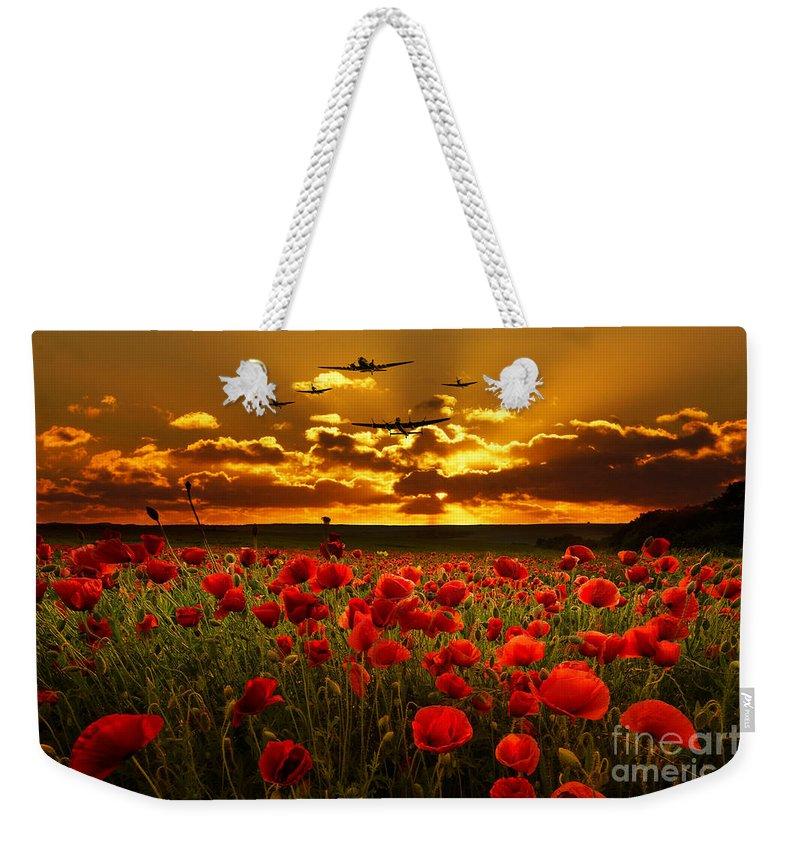 Avro Weekender Tote Bag featuring the digital art Sunset Poppies The Bbmf by J Biggadike