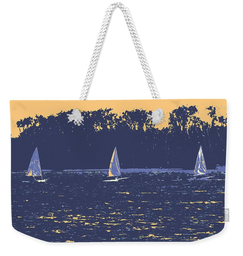 Sail Boat Weekender Tote Bag featuring the digital art Sunset Race by Ian MacDonald
