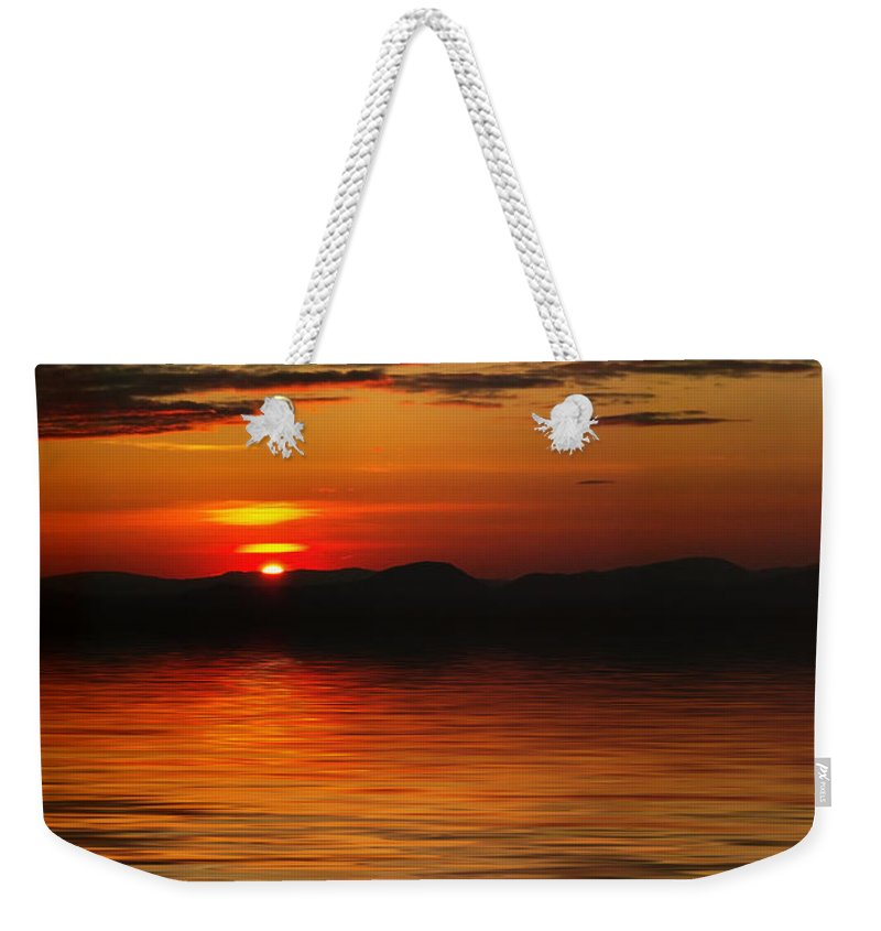 Sunrise Weekender Tote Bag featuring the photograph Sunset Reflection On The Lake by Gravityx9 Designs