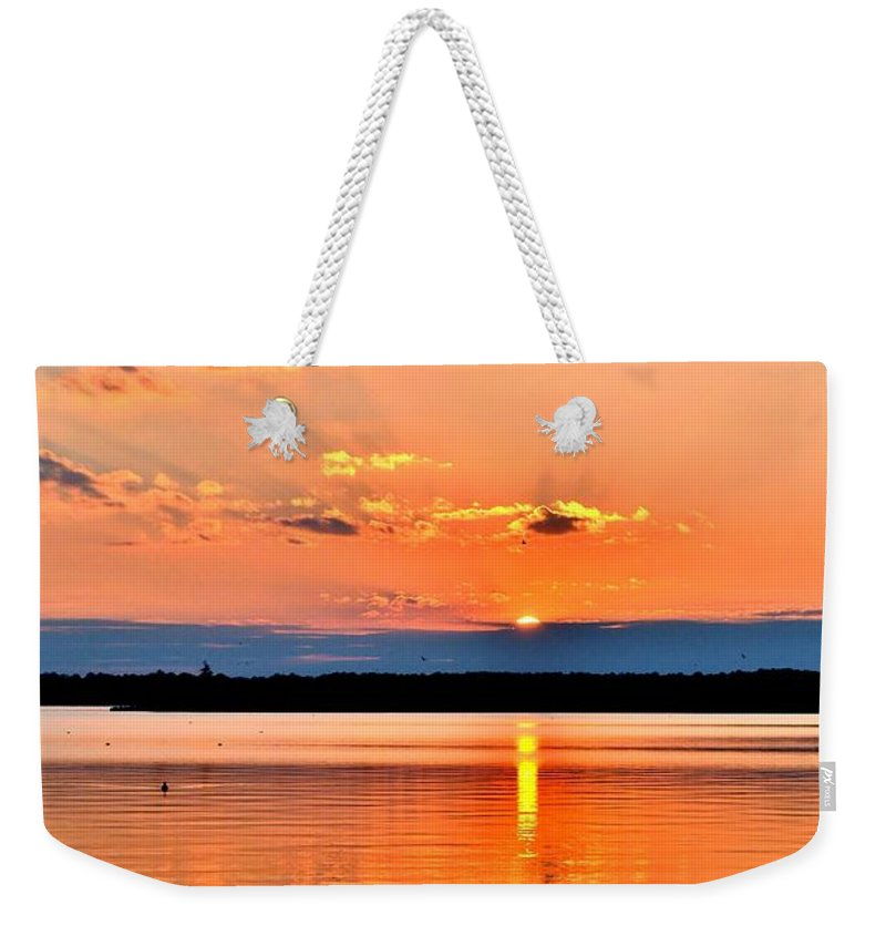 Sunset Weekender Tote Bag featuring the photograph Sunset Reflections 2 by Kim Bemis