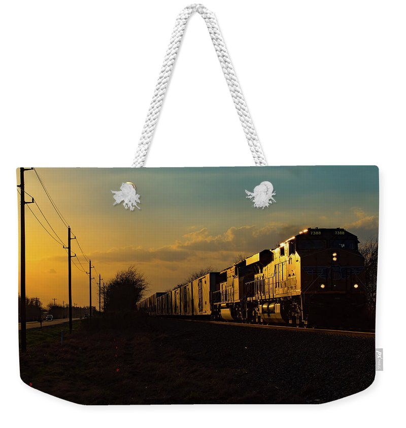 Train Weekender Tote Bag featuring the photograph Sunset Route Sunset by Ryan Nicolay