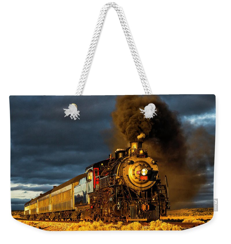 Steam Weekender Tote Bag featuring the photograph Sunset Runby by Peter Crook