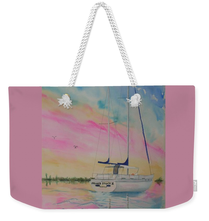 Sunset Sail 3 Weekender Tote Bag featuring the painting Sunset Sail 3 by Warren Thompson