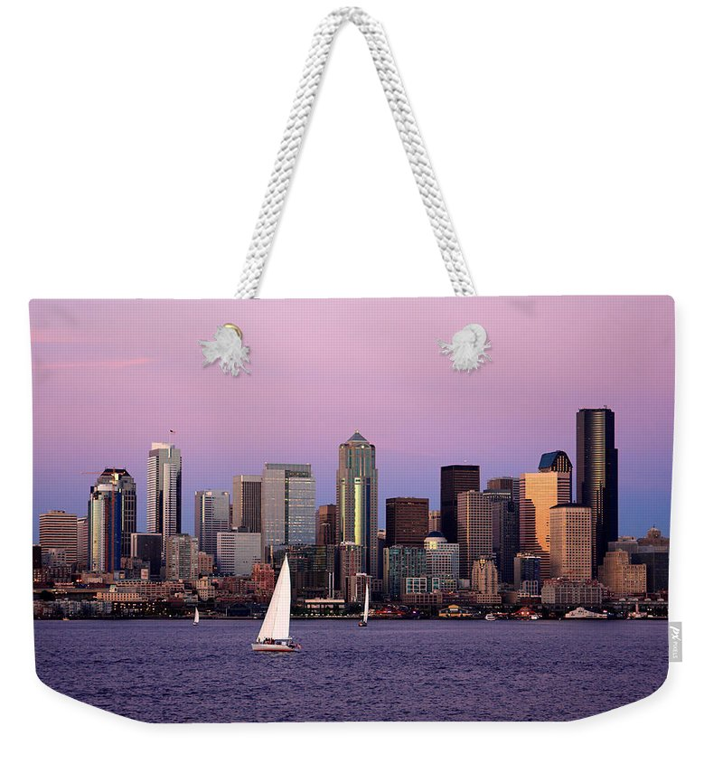 3scape Photos Weekender Tote Bag featuring the photograph Sunset Sail In Puget Sound by Adam Romanowicz