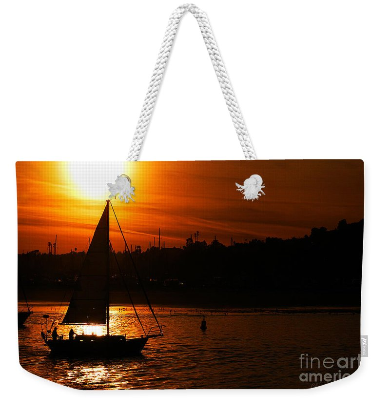 Clay Weekender Tote Bag featuring the photograph Sunset Sailing by Clayton Bruster