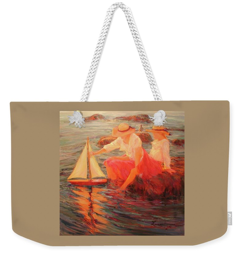 Sailing Weekender Tote Bag featuring the painting Sunset Sails by Diane Leonard
