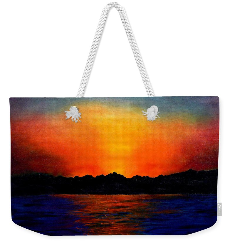Sinai Sunset Weekender Tote Bag featuring the painting Sunset Sinai by Helmut Rottler