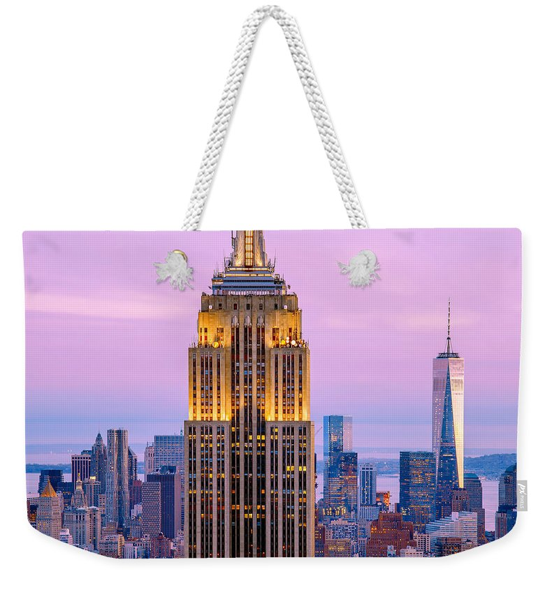 Empire State Building Weekender Tote Bag featuring the photograph Sunset Skyscrapers by Az Jackson