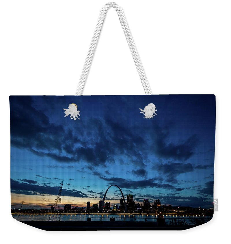 St Louis Sunset Skyline Twilight Dusk River City Urban Arch Blue Weekender Tote Bag featuring the photograph Sunset St. Louis IIi by Matthew Chapman