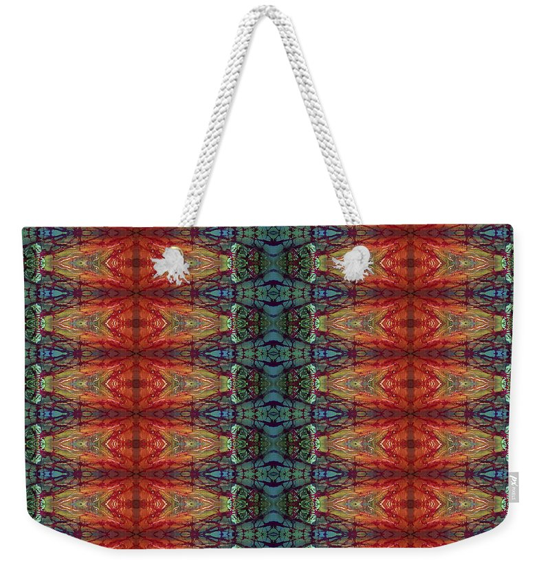Batik Weekender Tote Bag featuring the painting Sunset Strip Tiled by Sue Duda