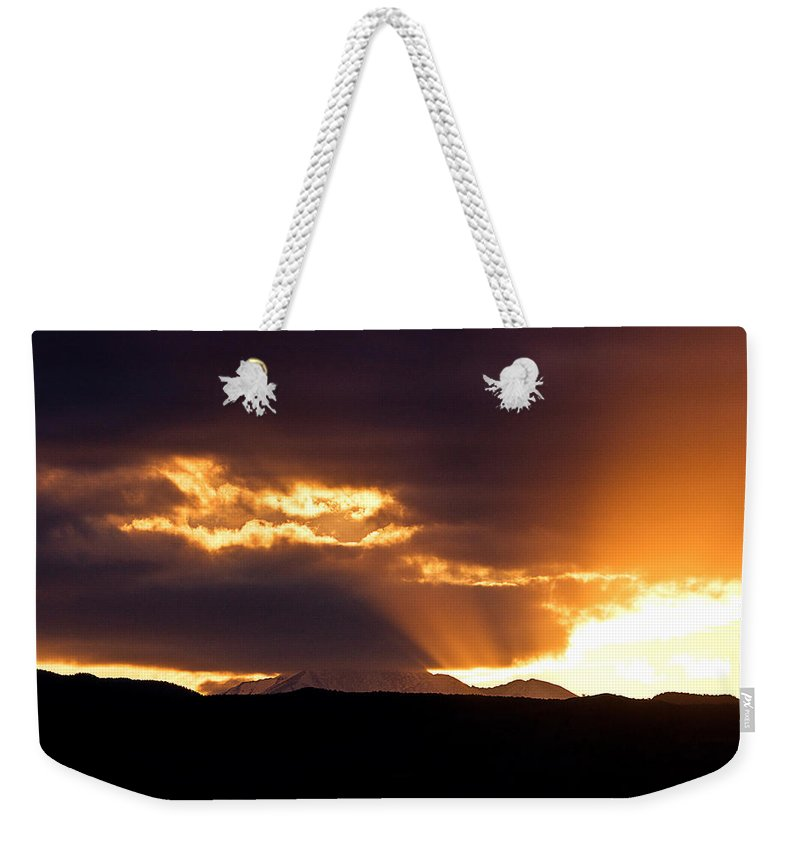 Sunset Weekender Tote Bag featuring the photograph Sunset Sunbeams by James BO Insogna