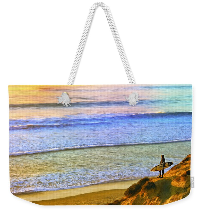 Sunset Weekender Tote Bag featuring the painting Sunset Surf At La Jolla by Dominic Piperata