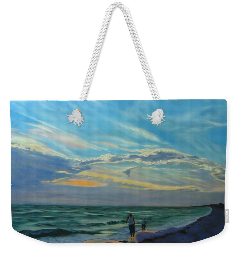 Seascape Weekender Tote Bag featuring the painting Sunset Treasure Hunt by Lea Novak