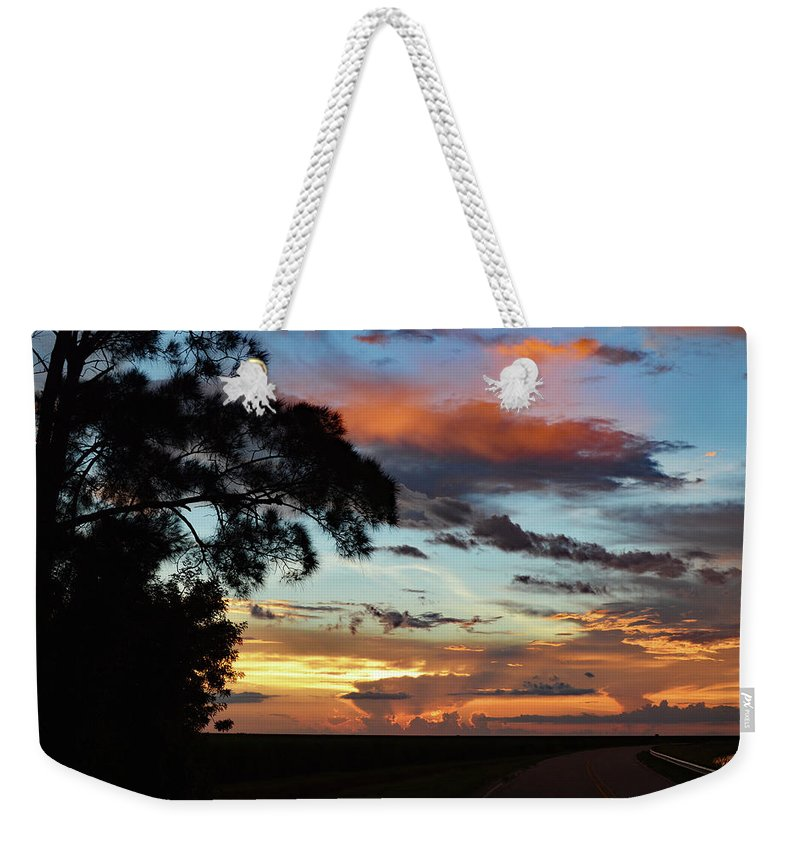 Delray Weekender Tote Bag featuring the photograph Sunset Tree Florida by Ken Figurski