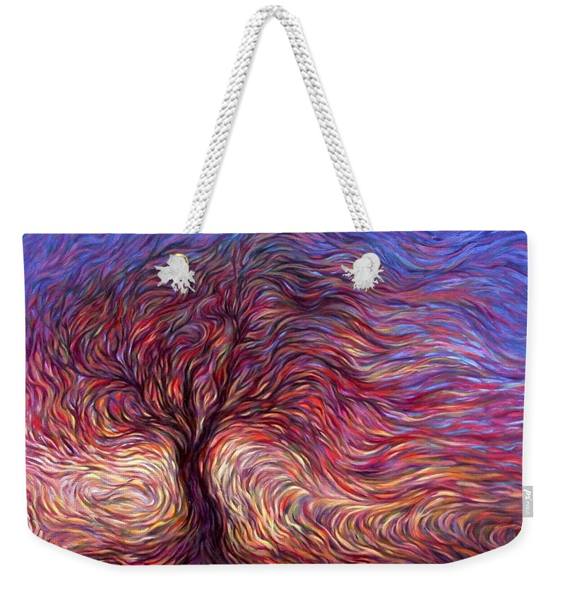 Tree Weekender Tote Bag featuring the painting Sunset Tree by Hans Droog