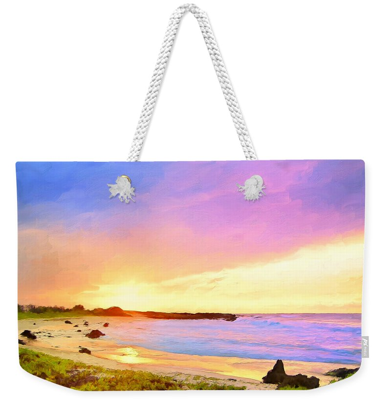 Sunset Weekender Tote Bag featuring the painting Sunset Walk by Dominic Piperata