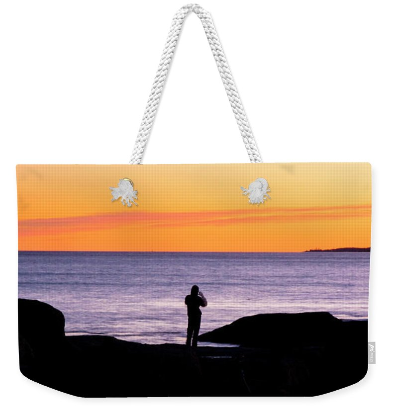 Sunset Weekender Tote Bag featuring the photograph Sunset Watcher by Greg Fortier
