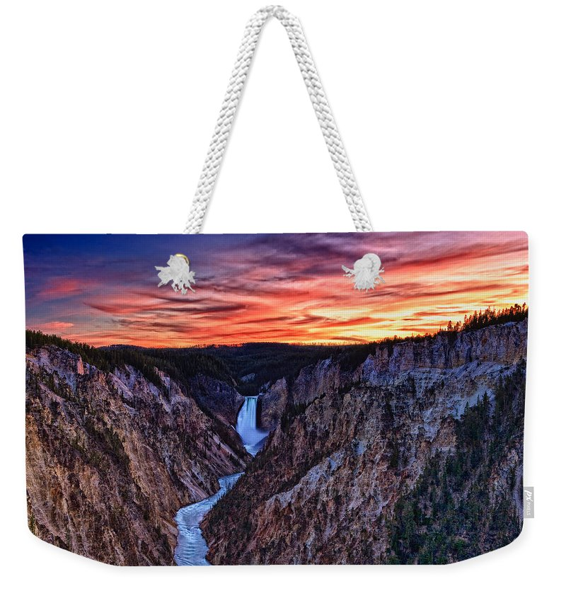Nature Weekender Tote Bag featuring the photograph Sunset Waterfall by John K Sampson