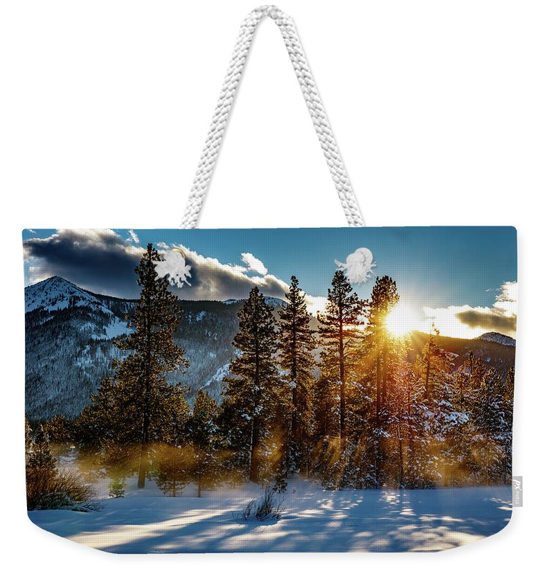 Sunset Weekender Tote Bag featuring the photograph Sunset With Trees by Mike Penney