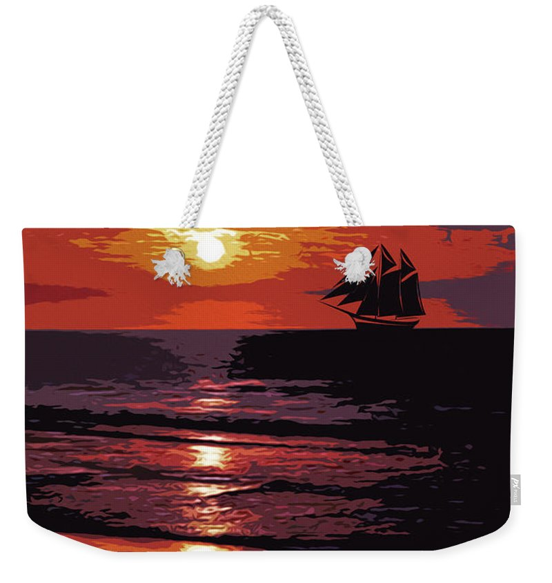 Sea Weekender Tote Bag featuring the painting Sunset - Wonder Of Nature by Andrea Mazzocchetti