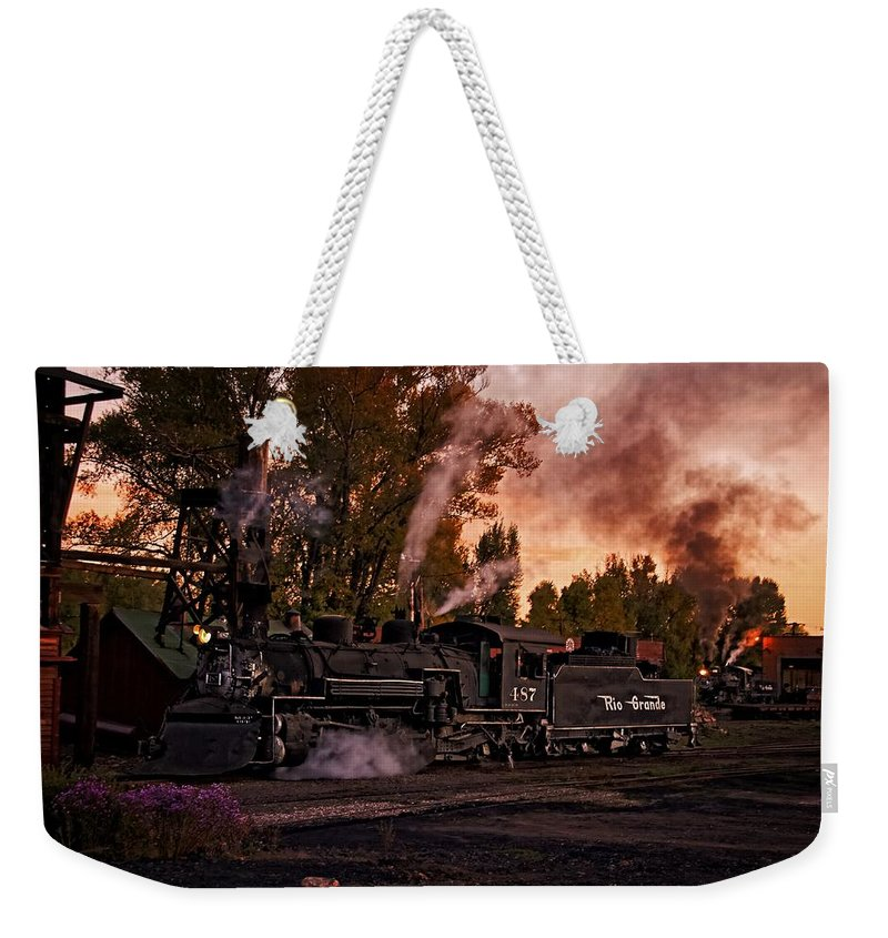 Train Weekender Tote Bag featuring the photograph Sunset Work Dogs by Ken Smith