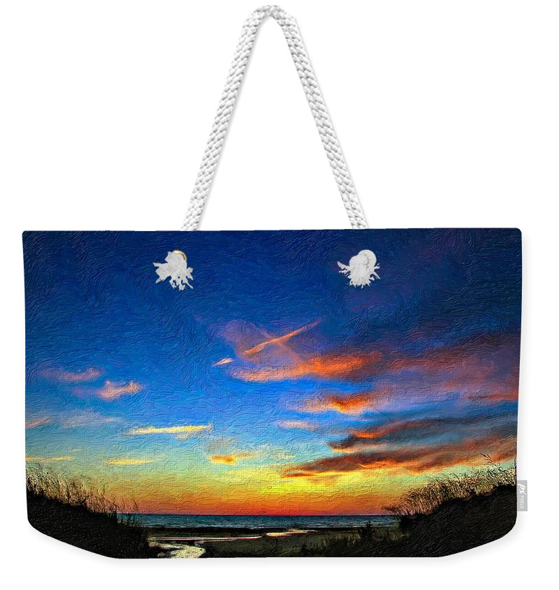 Sauble Beach Weekender Tote Bag featuring the photograph Sunset X Impasto by Steve Harrington