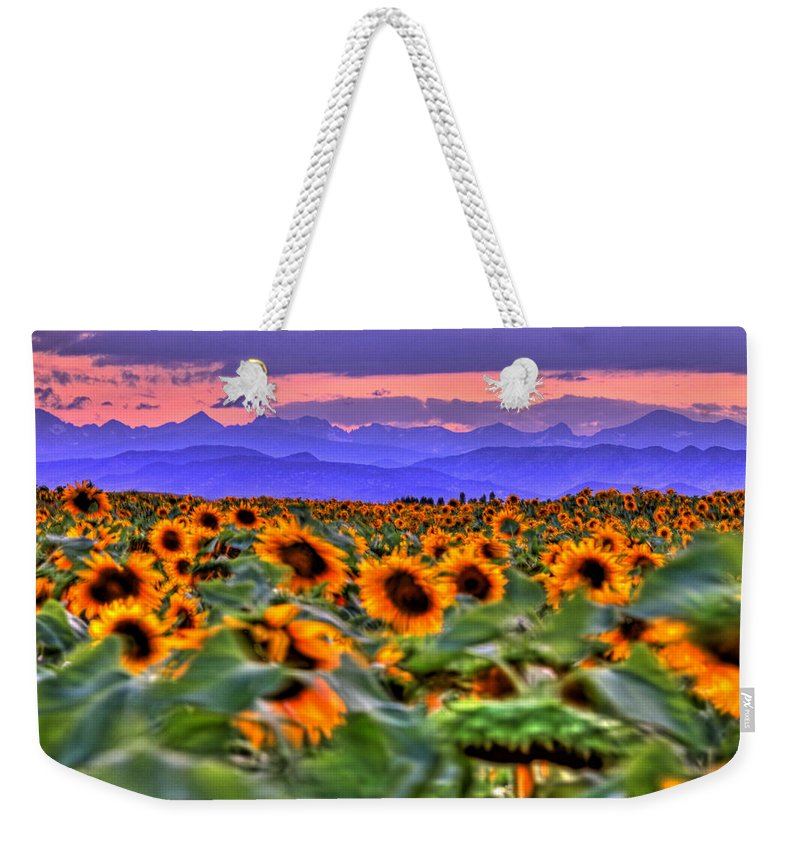 Sunsets Weekender Tote Bag featuring the photograph Sunsets And Sunflowers by Scott Mahon