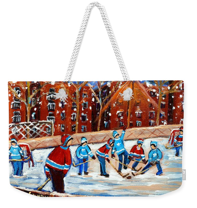 Kids Playing Hockey Weekender Tote Bag featuring the painting Sunsetting On My Street by Carole Spandau