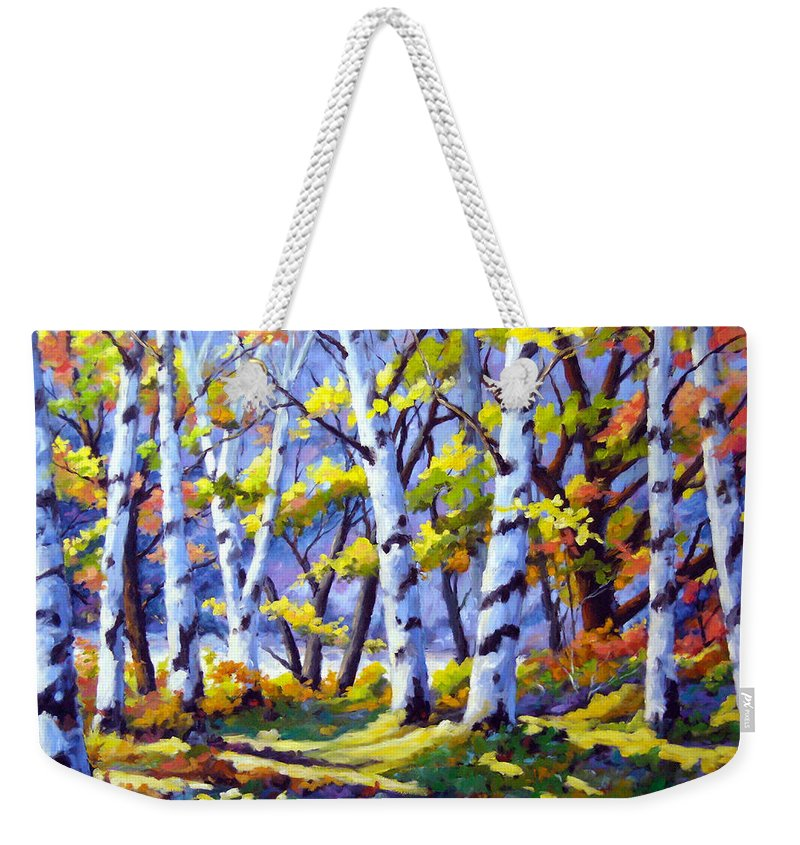 Art Weekender Tote Bag featuring the painting Sunshine And Birches by Richard T Pranke