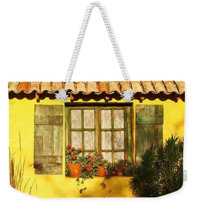 Window Weekender Tote Bag featuring the photograph Sunshine And Shutters by Bel Menpes
