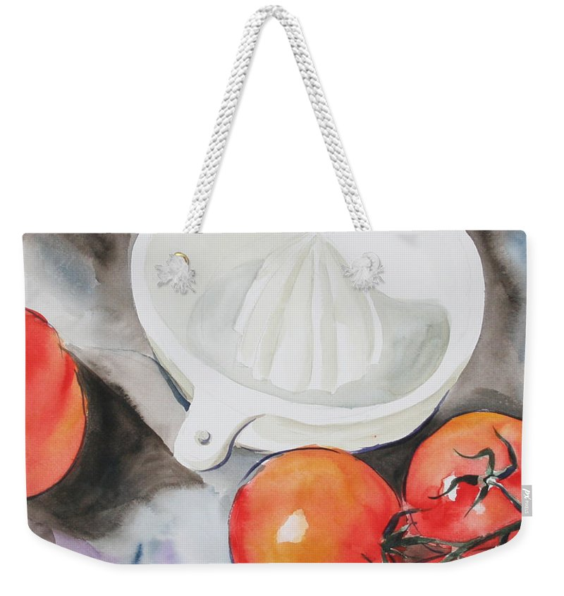 Tomatoes Weekender Tote Bag featuring the painting Sunshine On The Vine by Jean Blackmer