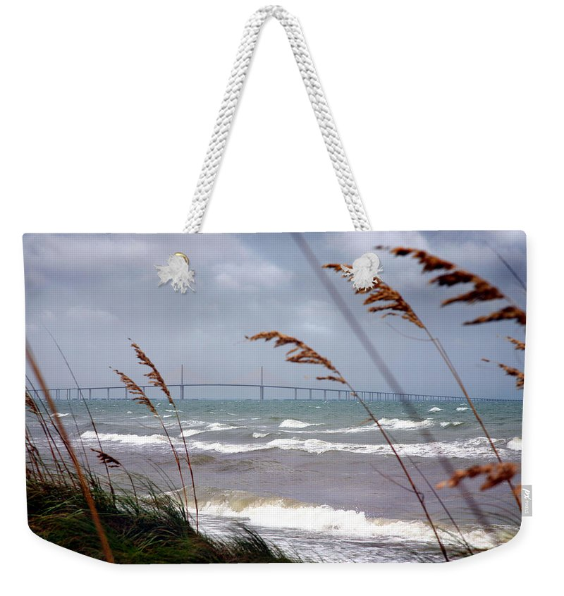 Sunshine Weekender Tote Bag featuring the photograph Sunshine Skyway Bridge Viewed From Fort De Soto Park by Mal Bray