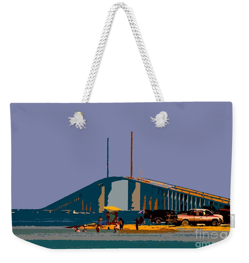 Sunshine Skyway Bridge Weekender Tote Bag featuring the photograph Sunshine Skyway by David Lee Thompson