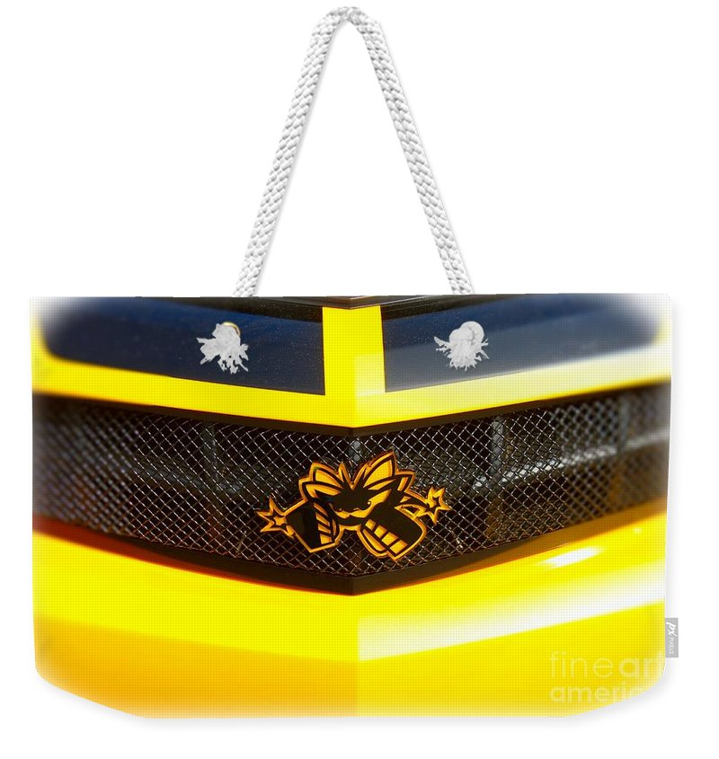 Camaro Weekender Tote Bag featuring the photograph Super Bee Camaro Grill by Tommy Anderson