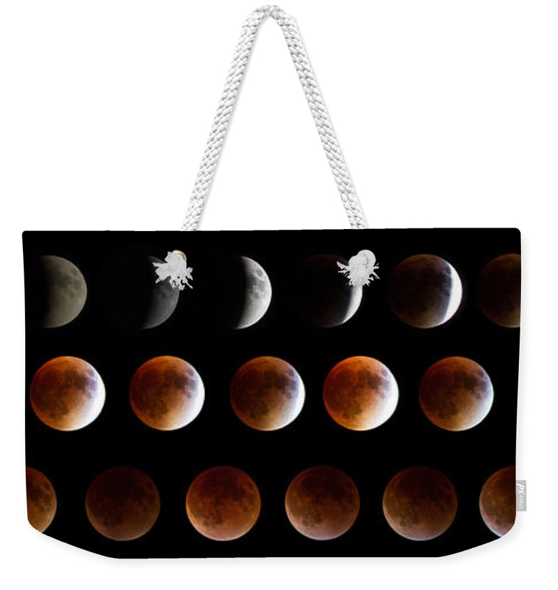 Moon Weekender Tote Bag featuring the photograph Super Blood Moon Eclipse by Robert J Caputo
