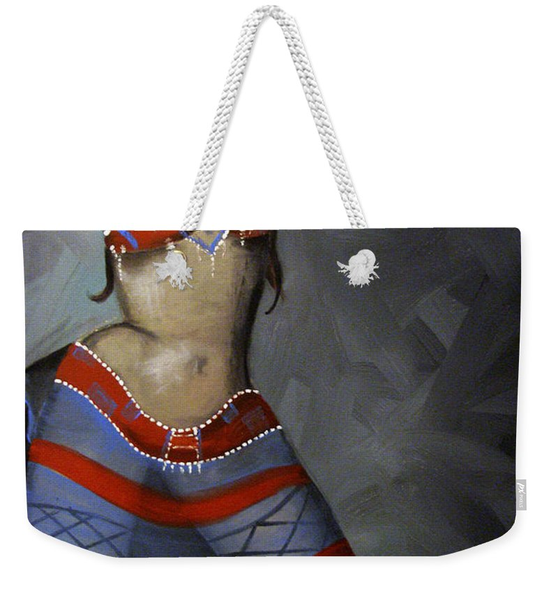 Dancer Weekender Tote Bag featuring the painting Super Dancing Wonder Woman by Kelly Jade King