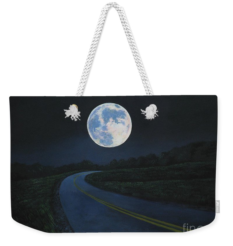 Super Moon Weekender Tote Bag featuring the painting Super Moon At The End Of The Road by Christopher Shellhammer