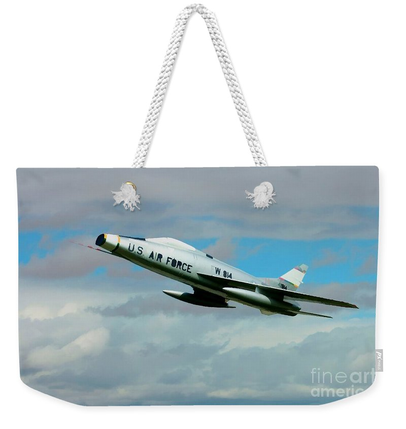 North American Weekender Tote Bag featuring the digital art Super Sabre North American F-100 by Tommy Anderson