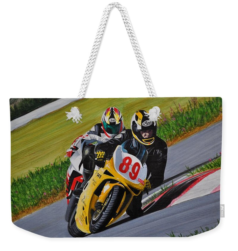 Motorcycle Weekender Tote Bag featuring the painting Superbikes by Kenneth M Kirsch