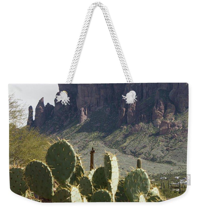 Superstition Mountain Weekender Tote Bag featuring the photograph Superstition Mountain by Shelly Priest