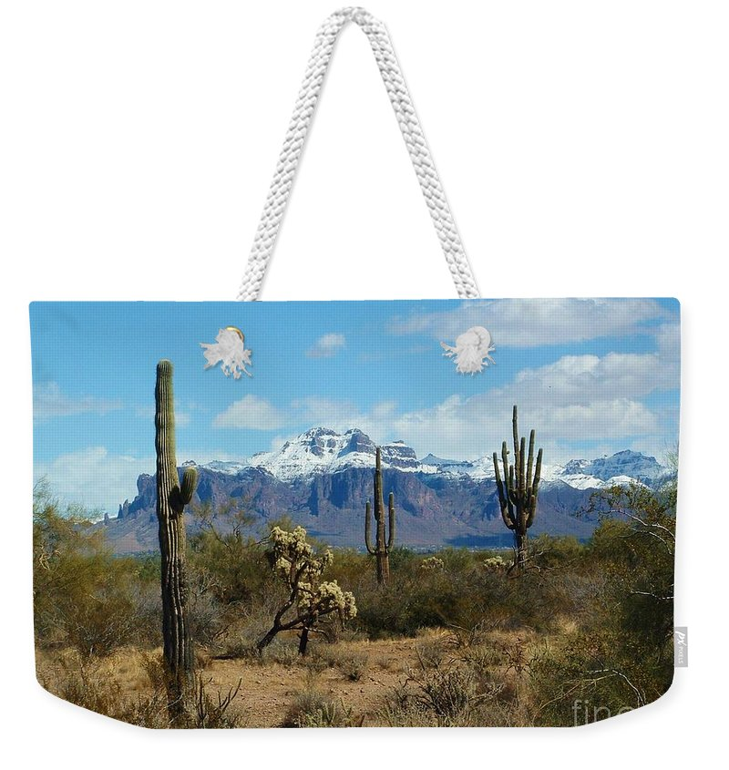 Superstition Mountain Weekender Tote Bag featuring the photograph Superstition Snow by Marilyn Smith