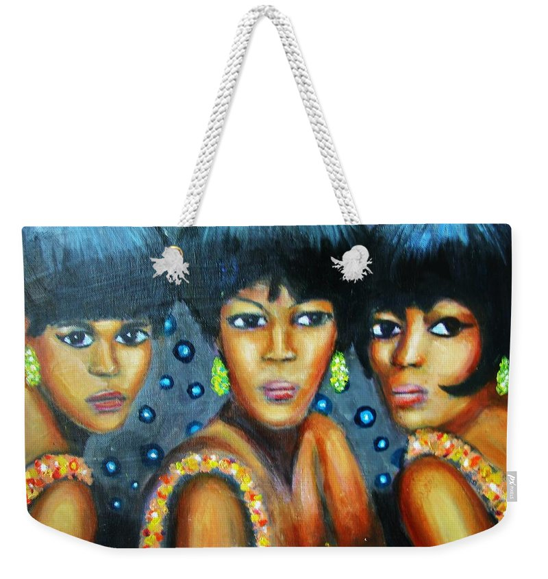 Singers Weekender Tote Bag featuring the painting Supremes by Jan Gilmore