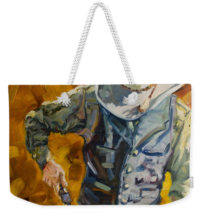 Cowboy Weekender Tote Bag featuring the painting Sure Shot by Diane Whitehead
