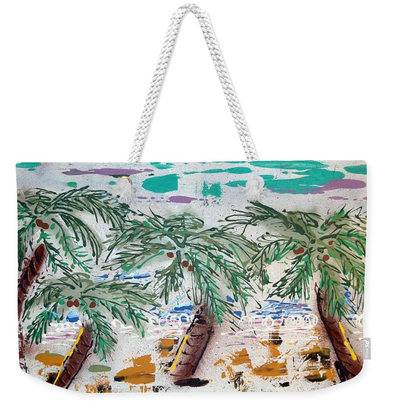 Abstract Weekender Tote Bag featuring the painting Surf And Palms by J R Seymour