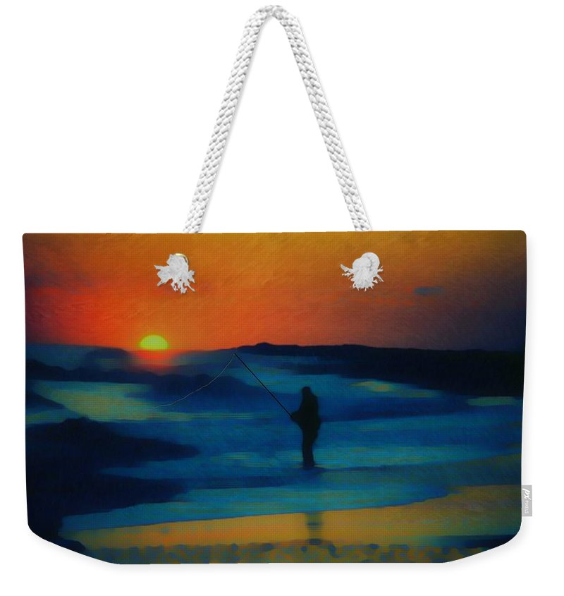 Digital Photograph Weekender Tote Bag featuring the photograph Surf Fishing by David Lane
