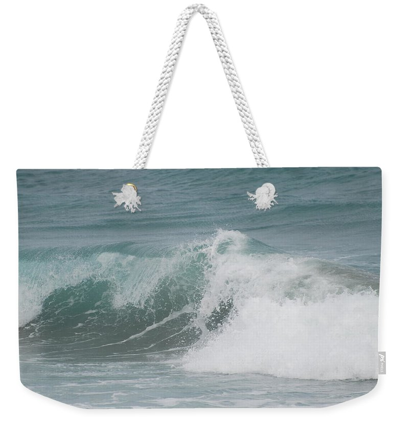 White Weekender Tote Bag featuring the photograph Surf by Rob Hans