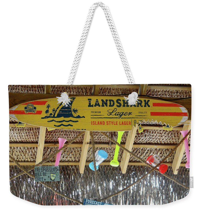 Weekender Tote Bag featuring the photograph Surf This Tiki Hut by Tania Vojvodic