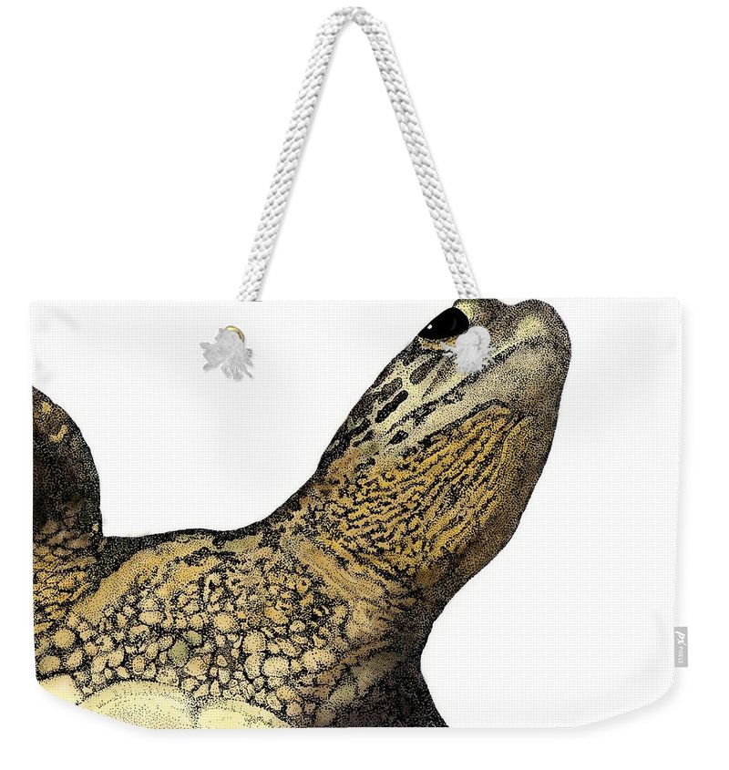 Sea Turtle Weekender Tote Bag featuring the drawing Surface by David Weaver