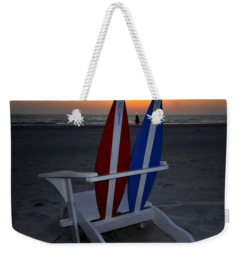 Beach Weekender Tote Bag featuring the photograph Surfboard Chair Sunset by David Lee Thompson